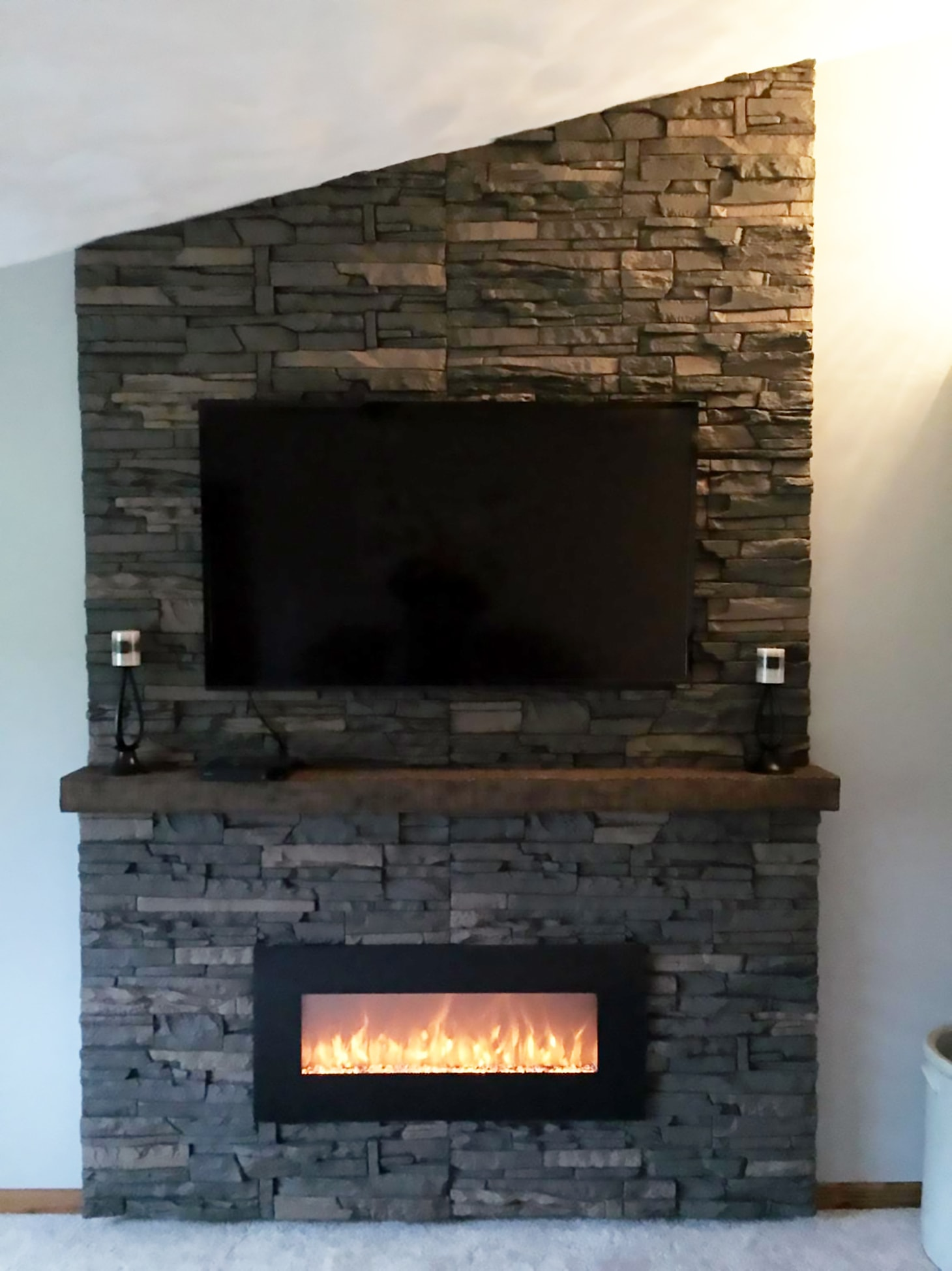 Diy Stone Wall Fireplace Entertainment Center By Scott Genstone