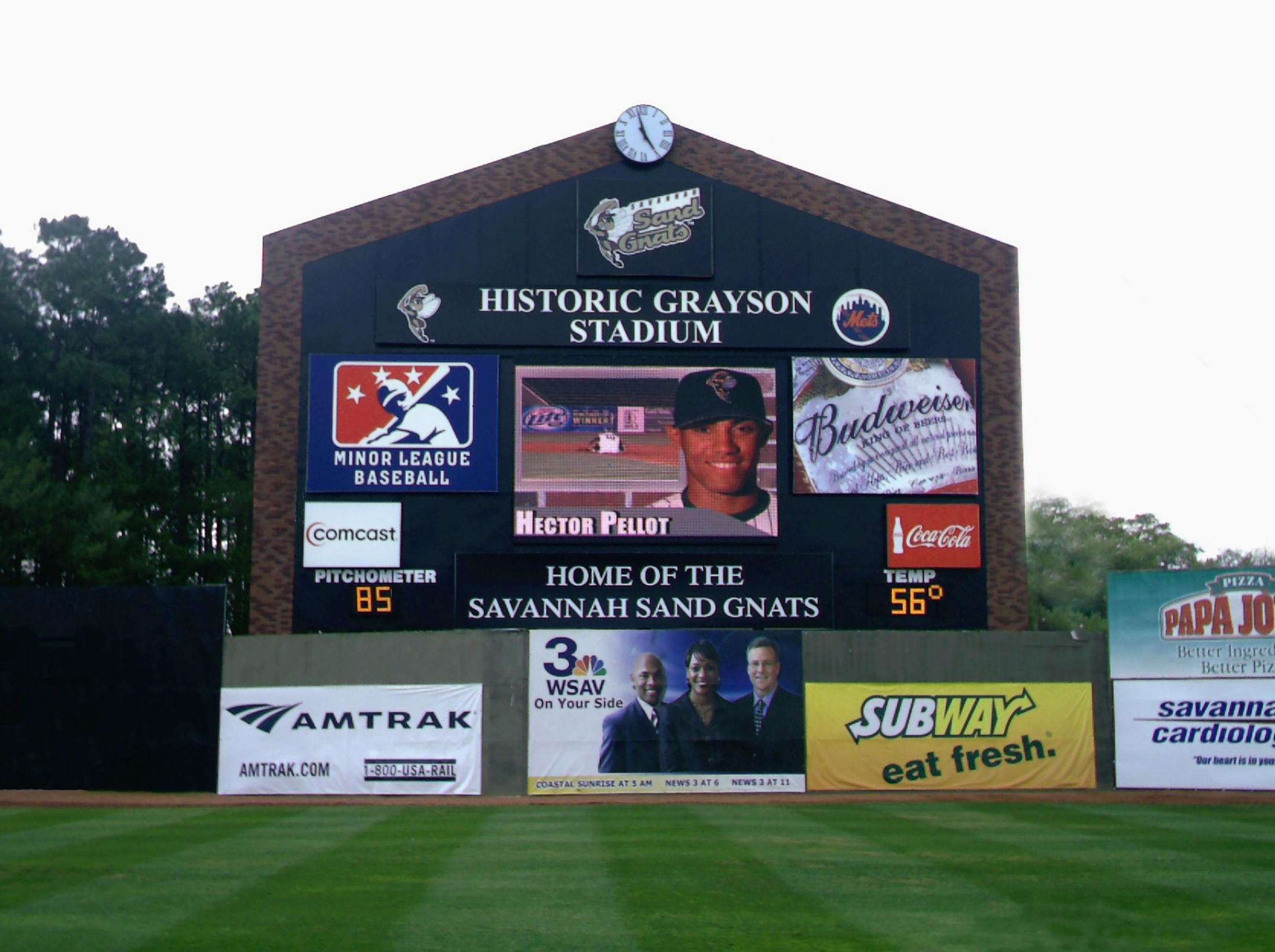 Brick Facade on Baseball Scoreboard