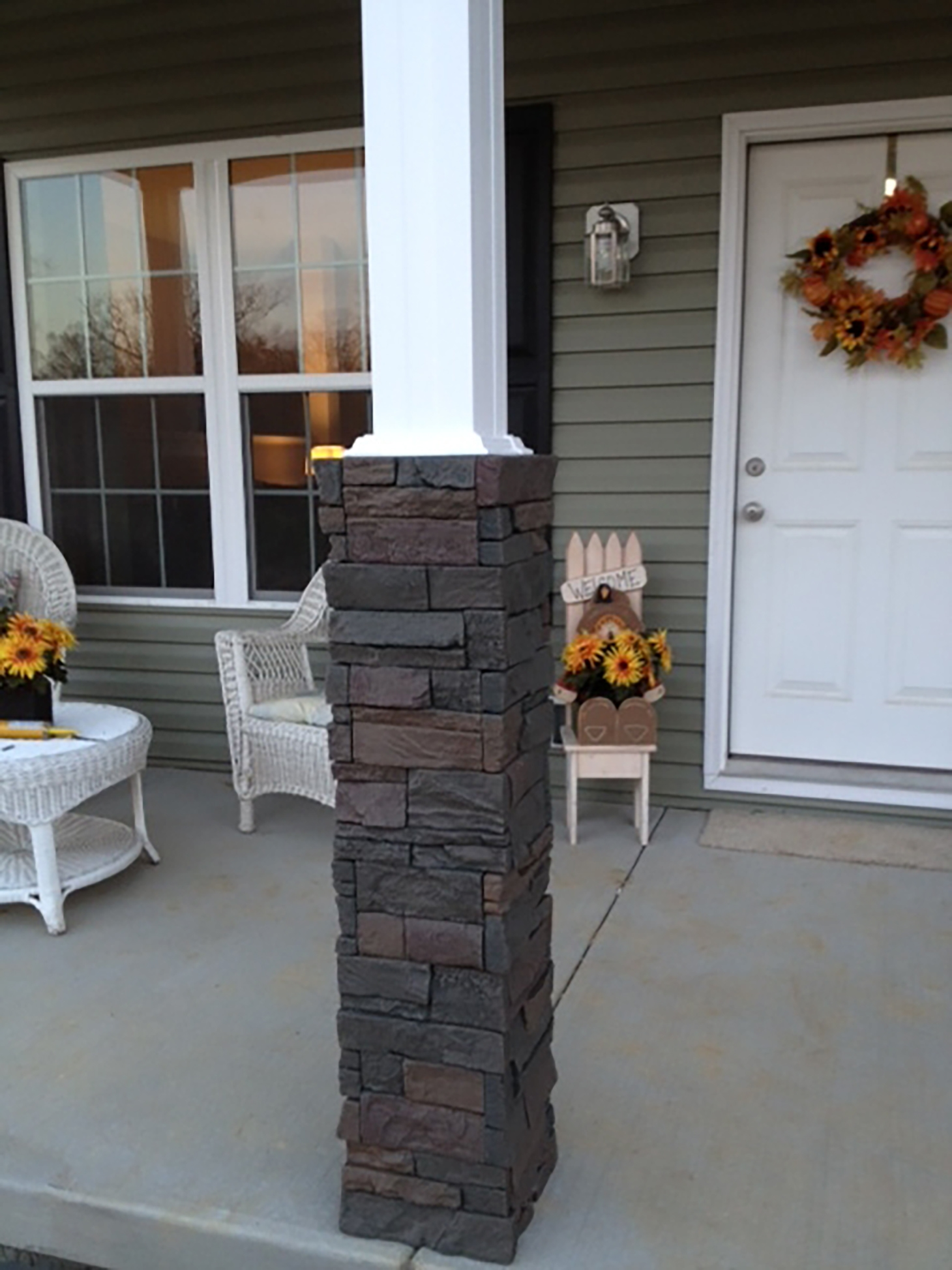 Stacked Stone Outdoor Columns