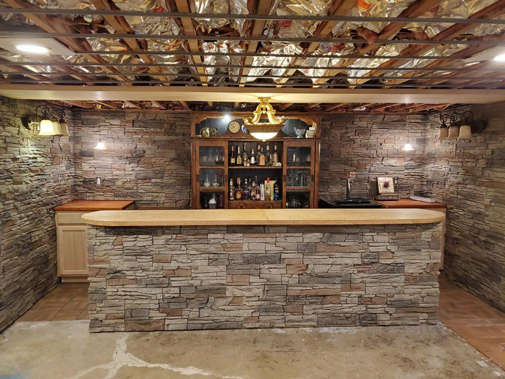DIY bar, faux stone bar