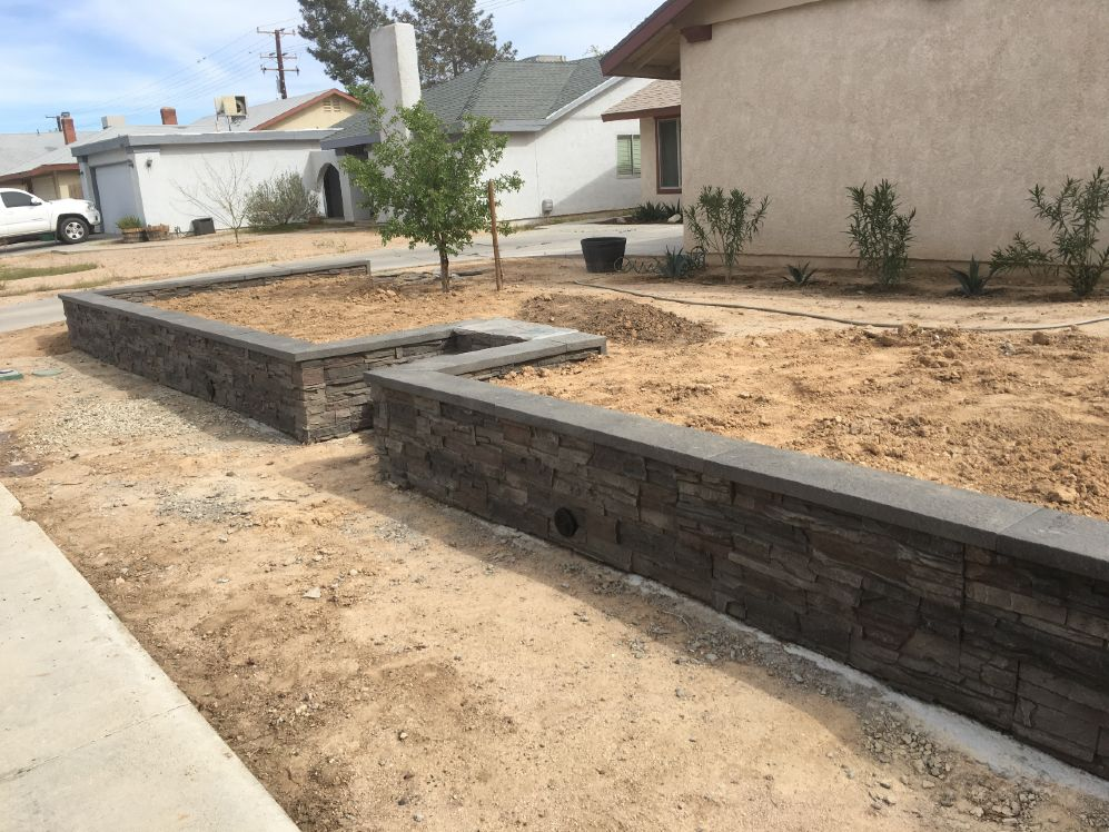DIY rock retaining wall