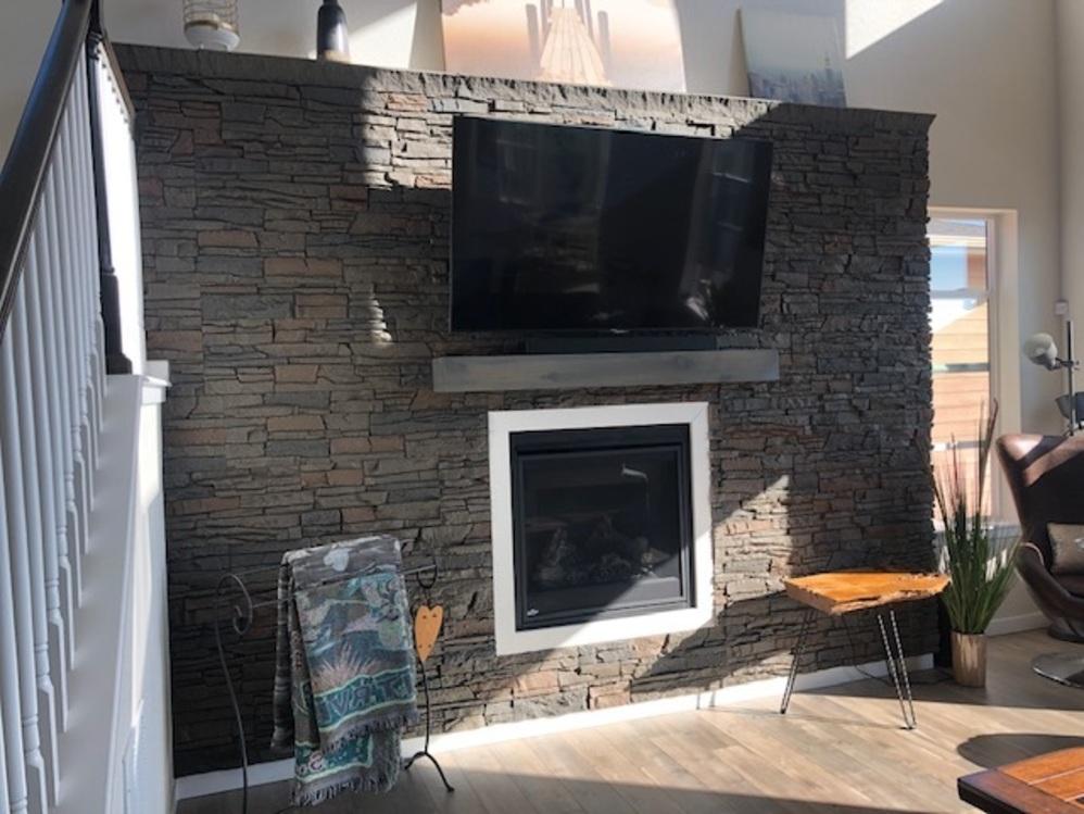 coffee stone fireplace