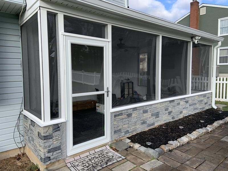 Northern Slate screened-in porch wainscoting