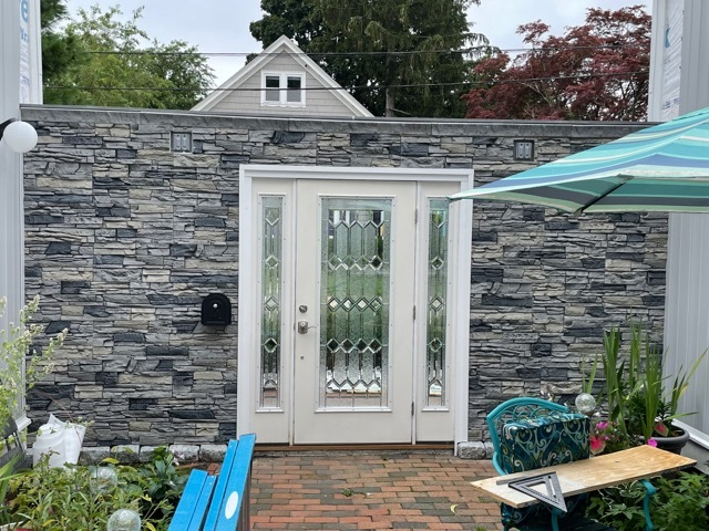 faux stone exterior accent wall