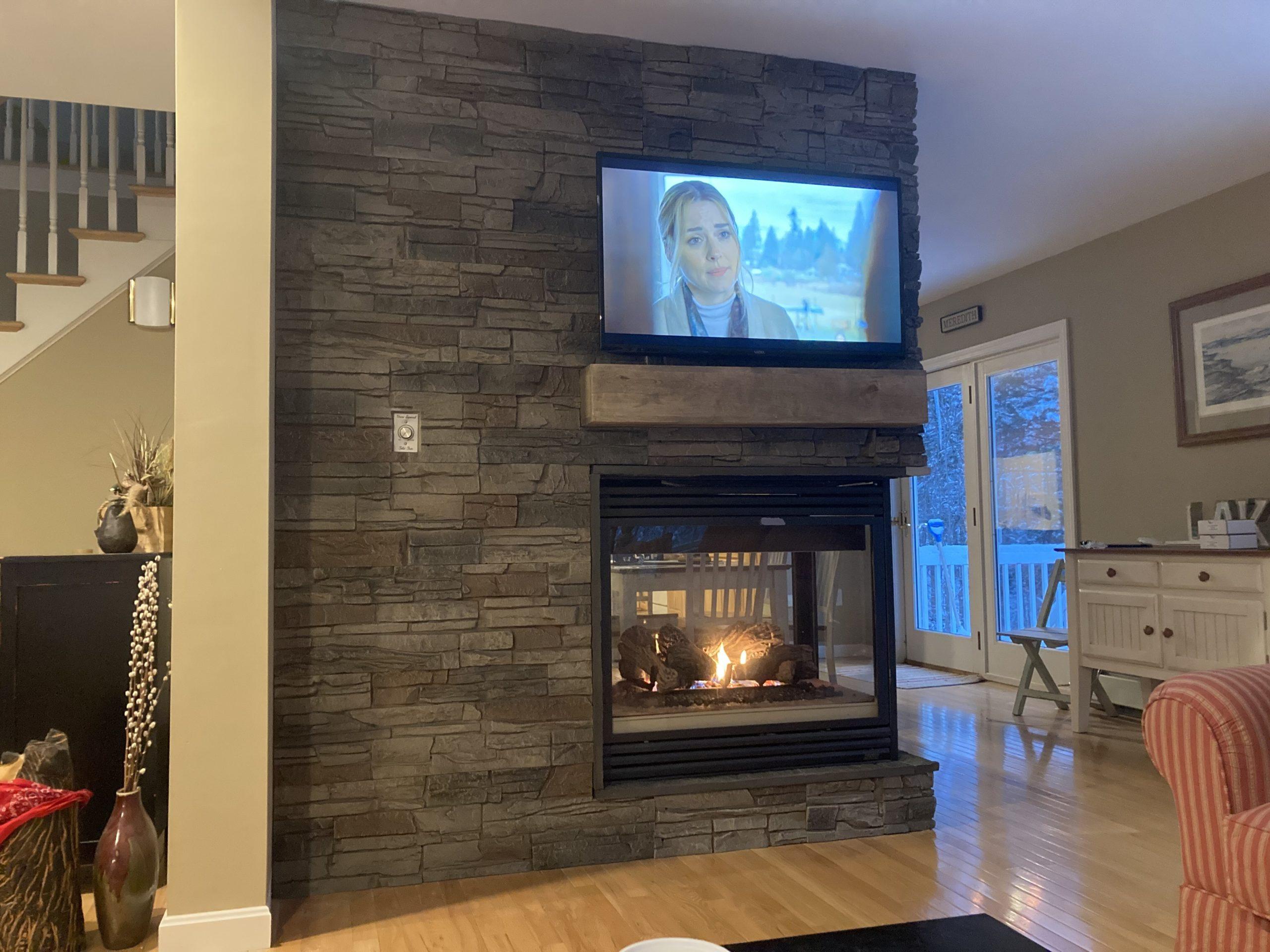 faux stone gas fireplace