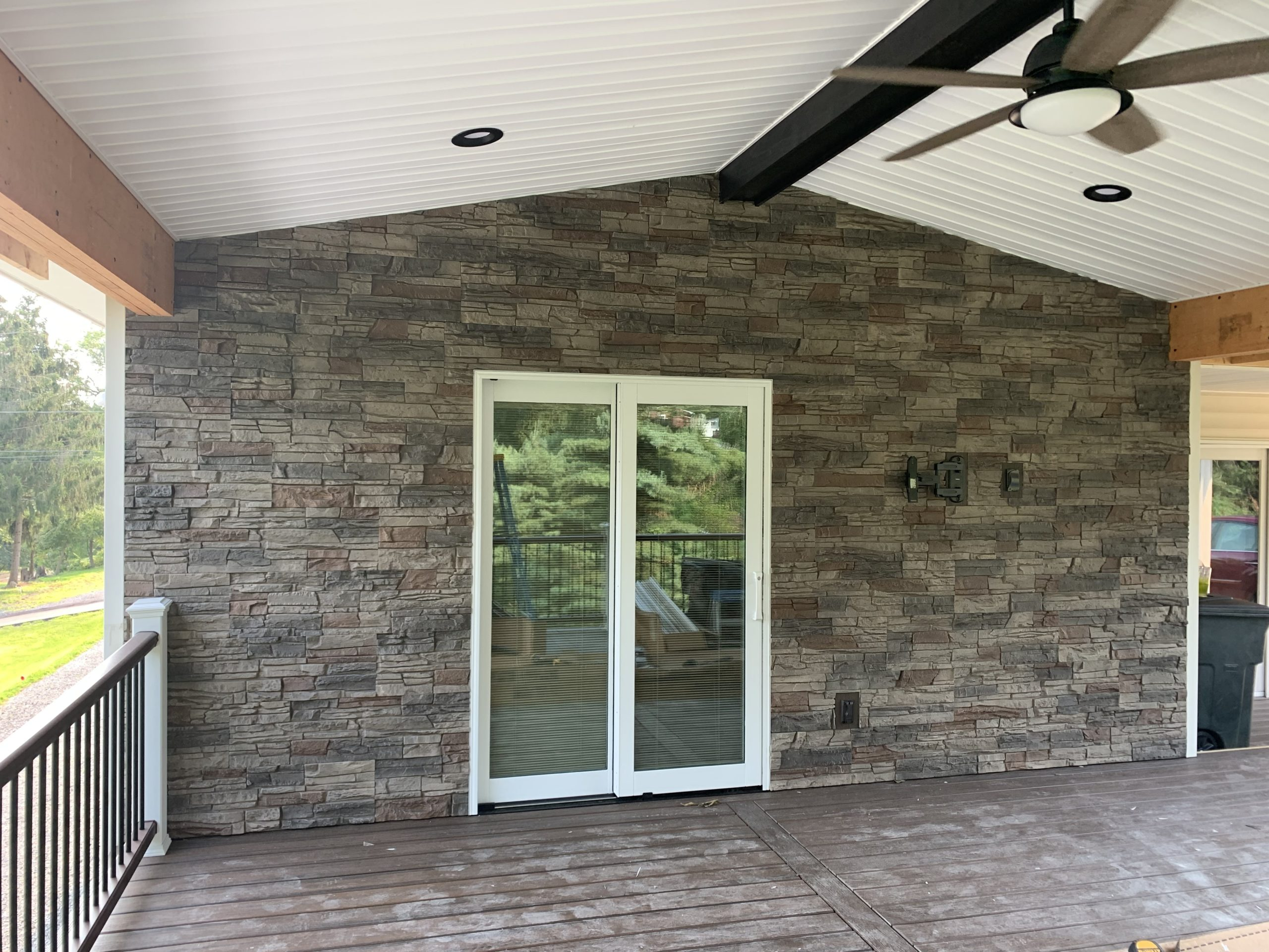 faux stone deck accent wall