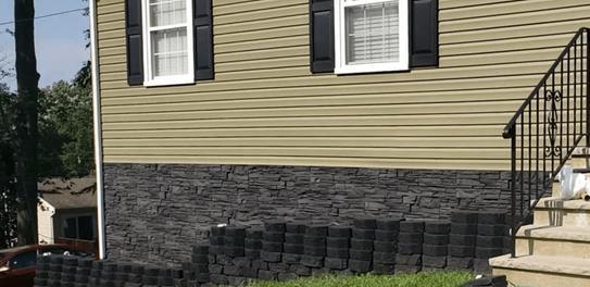 Iron Ore faux stone foundation cover
