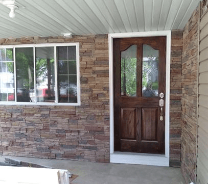 Stratford faux stone front porch